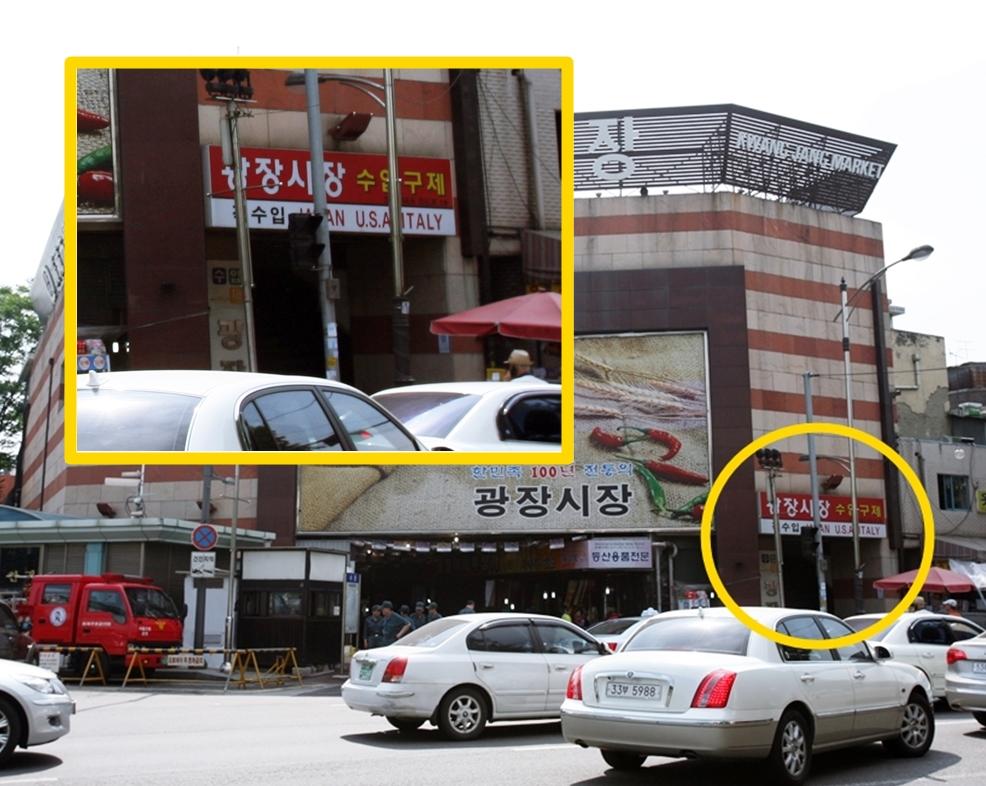 廣藏市場2樓輸入古著樓梯右邊入口位置標示