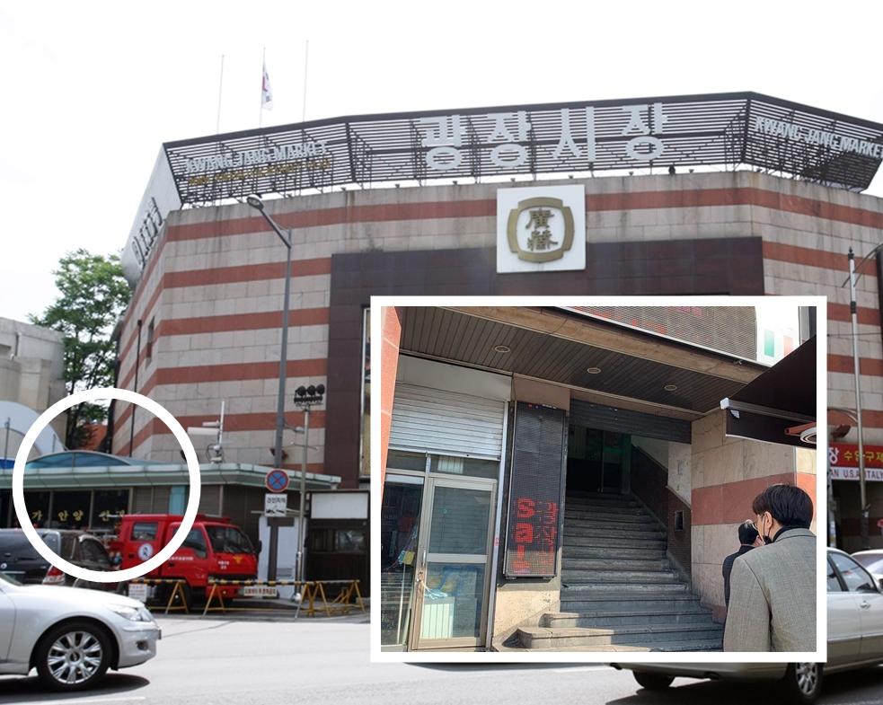 廣藏市場2樓輸入古著樓梯左邊入口位置標示