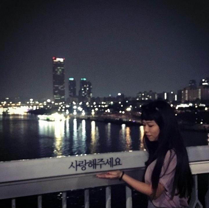 與首爾漢江麻浦大橋上的心靈小語合照