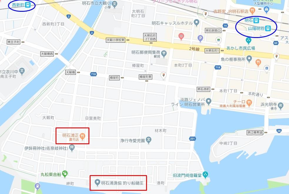 捕魚業合作社拍賣市場及明石浦正本店地圖