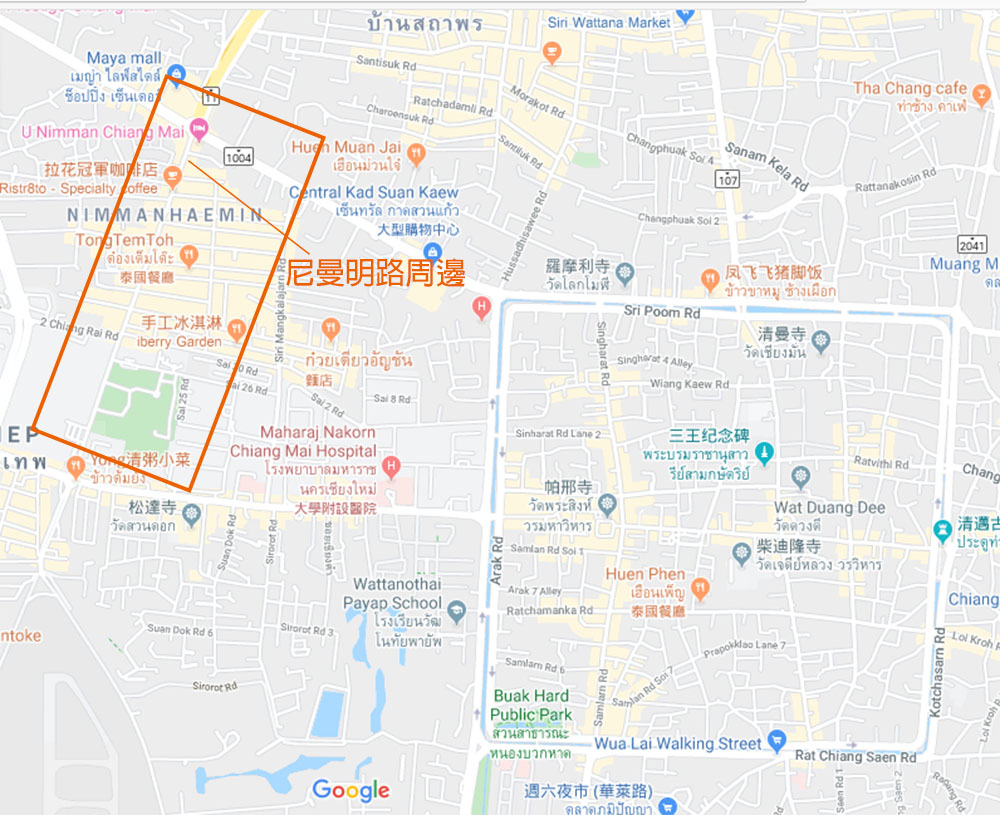 泰國 清邁 尼曼明路 One Nimman商場地圖