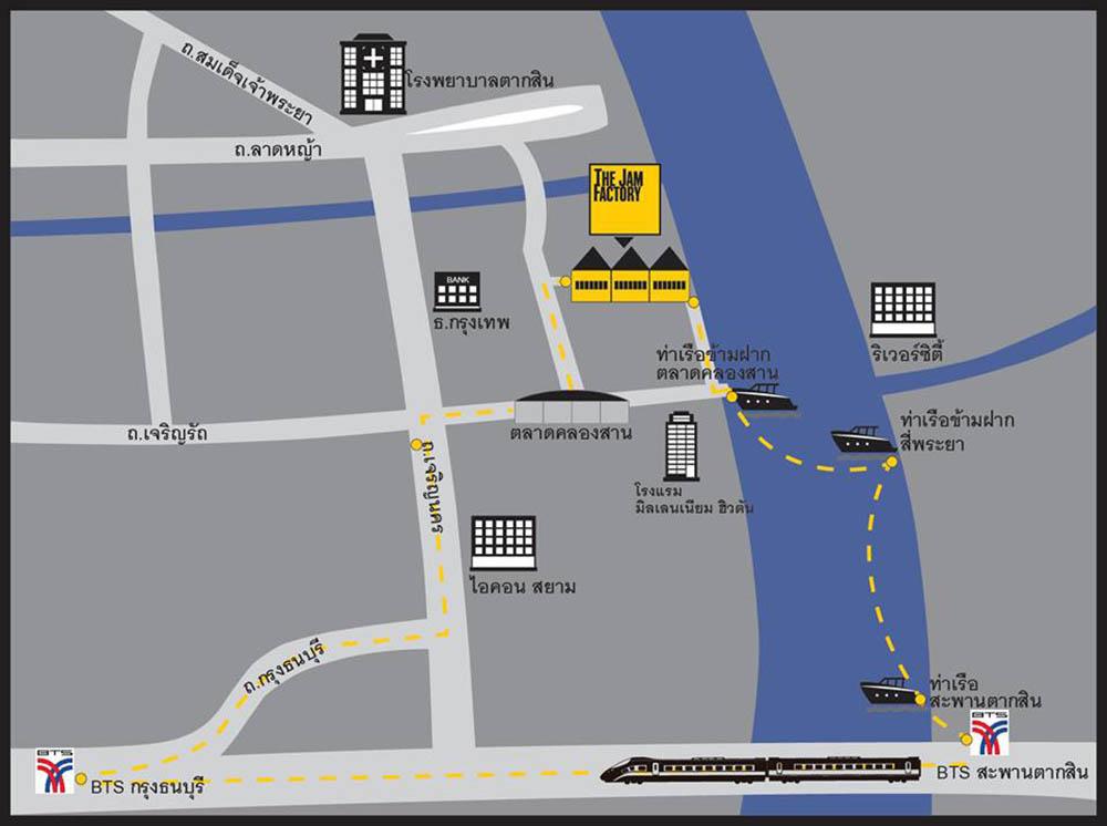 泰國 曼谷 昭披耶河畔 The Jam Factory 地圖