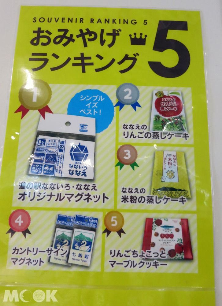 北海道七飯町的道の駅なないろ・ななえ(七色・七飯休息站) 紀念品銷售排行