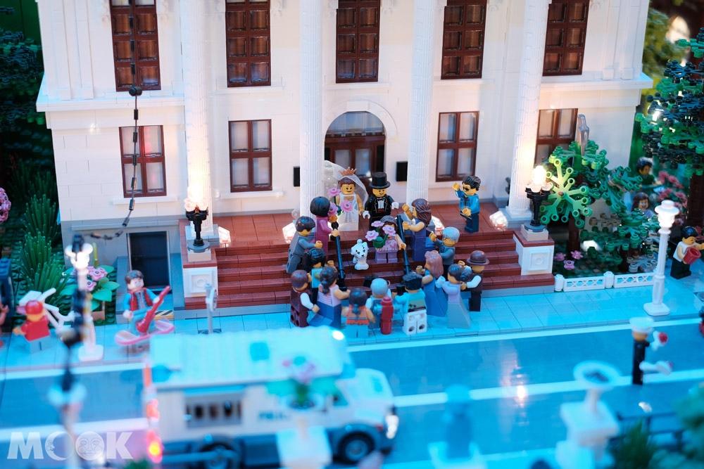 樂高之家綠區城市模型中的婚禮場景