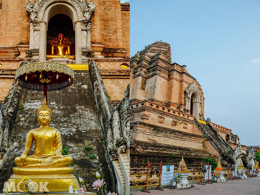 泰國 清邁 古城 寺廟 泰國寺廟 聖隆骨寺 柴迪隆寺 佛塔外觀 佛像