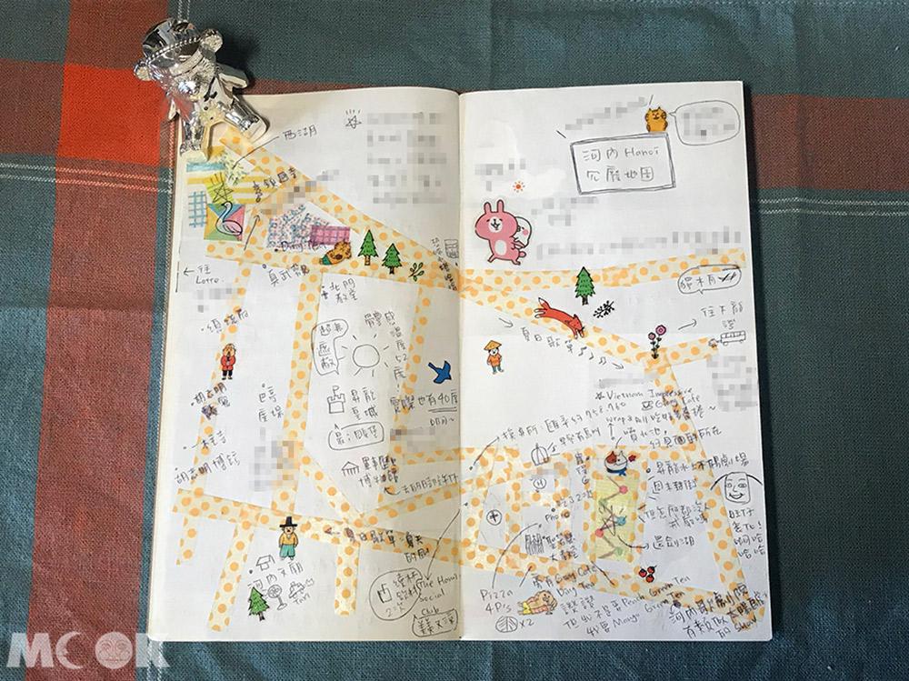 旅行 手帳 筆記本 地圖 紙膠帶 河內 越南 手繪地圖 貼紙