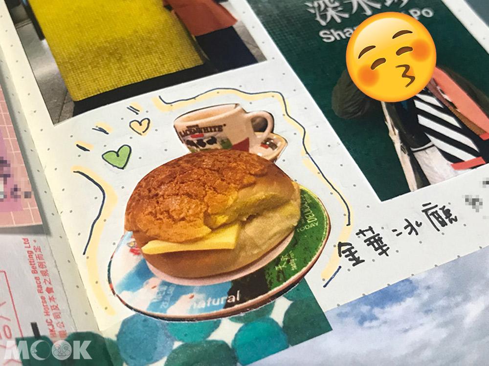 旅行 手帳 筆記本 剪貼 食物 菠蘿油 金華冰聽 香港