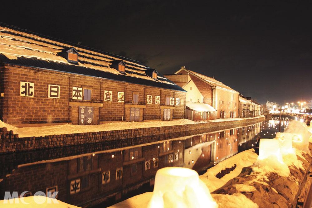 2月小樽雪燈之路的小樽運河