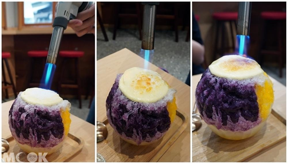 台灣台北市 中正區 東門站 金雞母刨冰甜品專門店 燒冰芒果藍莓炙烤過程
