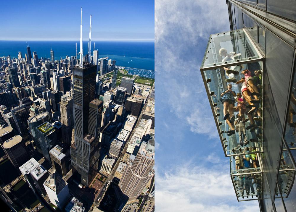 芝加哥威利斯大廈外觀與觀景台上的The Ledge