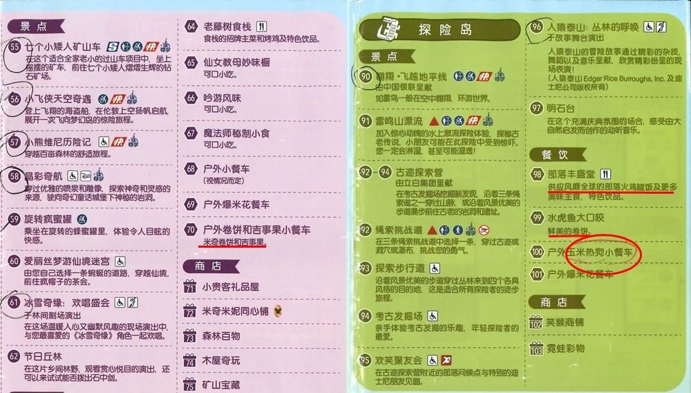 上海迪士尼餐點地圖